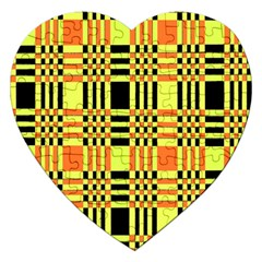 Yellow Orange And Black Background Plaid Like Background Of Halloween Colors Orange Yellow And Black Jigsaw Puzzle (heart) by Simbadda