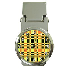 Yellow Orange And Black Background Plaid Like Background Of Halloween Colors Orange Yellow And Black Money Clip Watches by Simbadda