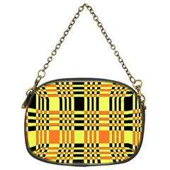 Yellow Orange And Black Background Plaid Like Background Of Halloween Colors Orange Yellow And Black Chain Purses (one Side)  by Simbadda