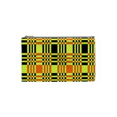 Yellow Orange And Black Background Plaid Like Background Of Halloween Colors Orange Yellow And Black Cosmetic Bag (small)  by Simbadda