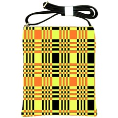 Yellow Orange And Black Background Plaid Like Background Of Halloween Colors Orange Yellow And Black Shoulder Sling Bags by Simbadda