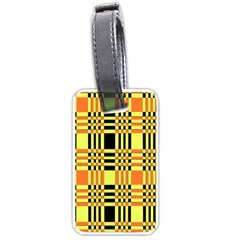 Yellow Orange And Black Background Plaid Like Background Of Halloween Colors Orange Yellow And Black Luggage Tags (one Side)