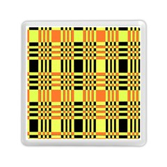 Yellow Orange And Black Background Plaid Like Background Of Halloween Colors Orange Yellow And Black Memory Card Reader (square)