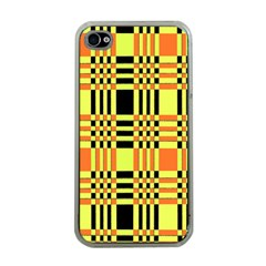 Yellow Orange And Black Background Plaid Like Background Of Halloween Colors Orange Yellow And Black Apple Iphone 4 Case (clear) by Simbadda