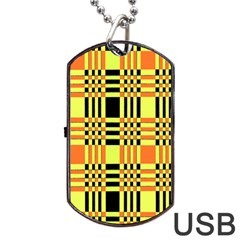 Yellow Orange And Black Background Plaid Like Background Of Halloween Colors Orange Yellow And Black Dog Tag Usb Flash (one Side) by Simbadda