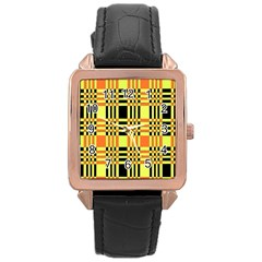 Yellow Orange And Black Background Plaid Like Background Of Halloween Colors Orange Yellow And Black Rose Gold Leather Watch