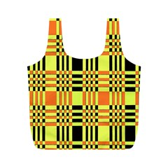 Yellow Orange And Black Background Plaid Like Background Of Halloween Colors Orange Yellow And Black Full Print Recycle Bags (m)  by Simbadda