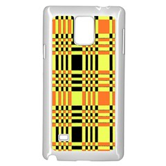 Yellow Orange And Black Background Plaid Like Background Of Halloween Colors Orange Yellow And Black Samsung Galaxy Note 4 Case (white)