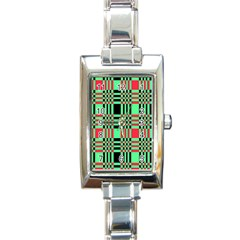 Bright Christmas Abstract Background Christmas Colors Of Red Green And Black Make Up This Abstract Rectangle Italian Charm Watch by Simbadda