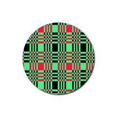 Bright Christmas Abstract Background Christmas Colors Of Red Green And Black Make Up This Abstract Rubber Coaster (round)  by Simbadda