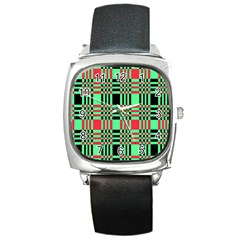 Bright Christmas Abstract Background Christmas Colors Of Red Green And Black Make Up This Abstract Square Metal Watch