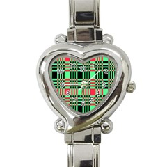 Bright Christmas Abstract Background Christmas Colors Of Red Green And Black Make Up This Abstract Heart Italian Charm Watch by Simbadda