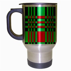Bright Christmas Abstract Background Christmas Colors Of Red Green And Black Make Up This Abstract Travel Mug (silver Gray)