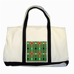 Bright Christmas Abstract Background Christmas Colors Of Red Green And Black Make Up This Abstract Two Tone Tote Bag by Simbadda