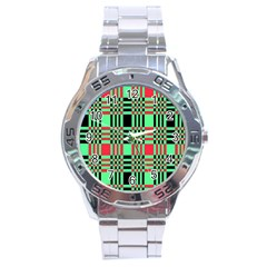Bright Christmas Abstract Background Christmas Colors Of Red Green And Black Make Up This Abstract Stainless Steel Analogue Watch by Simbadda