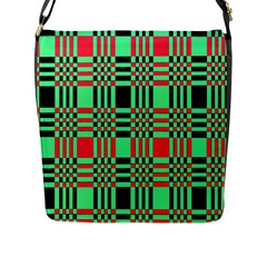 Bright Christmas Abstract Background Christmas Colors Of Red Green And Black Make Up This Abstract Flap Messenger Bag (l)  by Simbadda