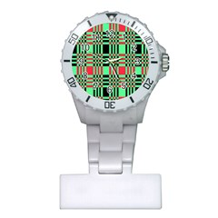 Bright Christmas Abstract Background Christmas Colors Of Red Green And Black Make Up This Abstract Plastic Nurses Watch by Simbadda