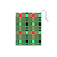 Bright Christmas Abstract Background Christmas Colors Of Red Green And Black Make Up This Abstract Drawstring Pouches (small)