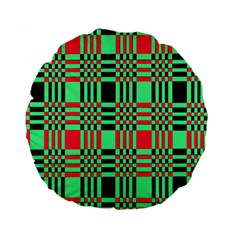 Bright Christmas Abstract Background Christmas Colors Of Red Green And Black Make Up This Abstract Standard 15  Premium Flano Round Cushions