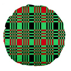 Bright Christmas Abstract Background Christmas Colors Of Red Green And Black Make Up This Abstract Large 18  Premium Flano Round Cushions