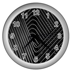 Chrome Abstract Pile Of Chrome Chairs Detail Wall Clocks (silver)