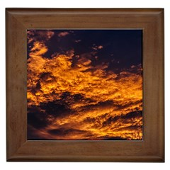 Abstract Orange Black Sunset Clouds Framed Tiles by Simbadda