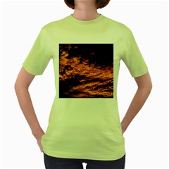 Abstract Orange Black Sunset Clouds Women s Green T Shirt