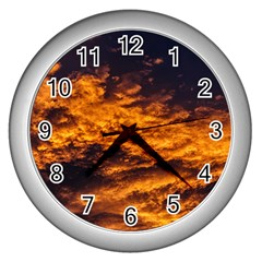 Abstract Orange Black Sunset Clouds Wall Clocks (silver)