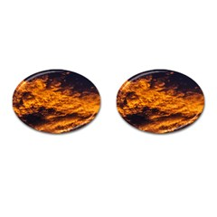 Abstract Orange Black Sunset Clouds Cufflinks (oval) by Simbadda
