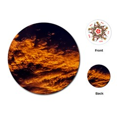 Abstract Orange Black Sunset Clouds Playing Cards (round)  by Simbadda