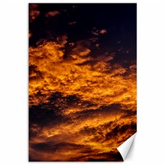 Abstract Orange Black Sunset Clouds Canvas 12  X 18