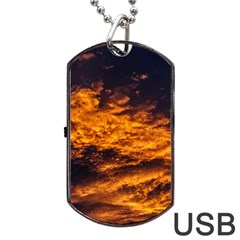 Abstract Orange Black Sunset Clouds Dog Tag Usb Flash (one Side) by Simbadda