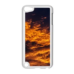 Abstract Orange Black Sunset Clouds Apple Ipod Touch 5 Case (white) by Simbadda