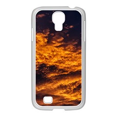 Abstract Orange Black Sunset Clouds Samsung Galaxy S4 I9500/ I9505 Case (white) by Simbadda