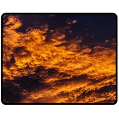 Abstract Orange Black Sunset Clouds Double Sided Fleece Blanket (medium)