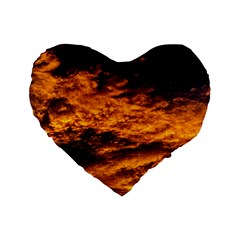 Abstract Orange Black Sunset Clouds Standard 16  Premium Flano Heart Shape Cushions by Simbadda