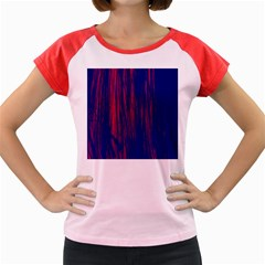 Abstract Color Red Blue Women s Cap Sleeve T Shirt