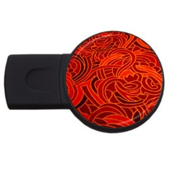 Orange Abstract Background Usb Flash Drive Round (4 Gb) by Simbadda