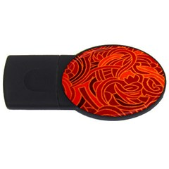 Orange Abstract Background Usb Flash Drive Oval (4 Gb) by Simbadda