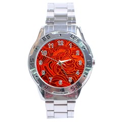 Orange Abstract Background Stainless Steel Analogue Watch by Simbadda