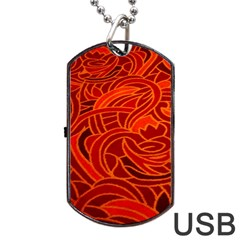 Orange Abstract Background Dog Tag Usb Flash (one Side) by Simbadda