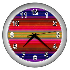 Fiesta Stripe Bright Colorful Neon Stripes Cinco De Mayo Background Wall Clocks (silver)
