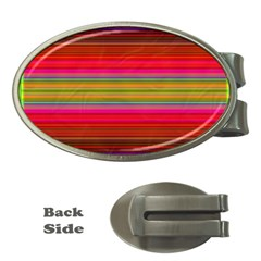Fiesta Stripe Bright Colorful Neon Stripes Cinco De Mayo Background Money Clips (oval)  by Simbadda