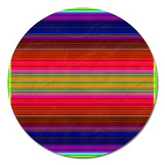 Fiesta Stripe Bright Colorful Neon Stripes Cinco De Mayo Background Magnet 5  (round) by Simbadda