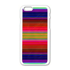 Fiesta Stripe Bright Colorful Neon Stripes Cinco De Mayo Background Apple Iphone 6/6s White Enamel Case by Simbadda