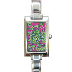 Big Growth Abstract Floral Texture Rectangle Italian Charm Watch by Simbadda