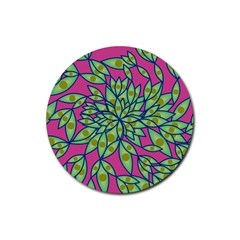 Big Growth Abstract Floral Texture Rubber Coaster (round)  by Simbadda