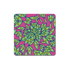 Big Growth Abstract Floral Texture Square Magnet by Simbadda