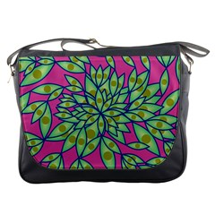 Big Growth Abstract Floral Texture Messenger Bags by Simbadda