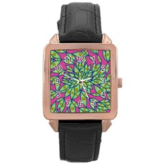 Big Growth Abstract Floral Texture Rose Gold Leather Watch